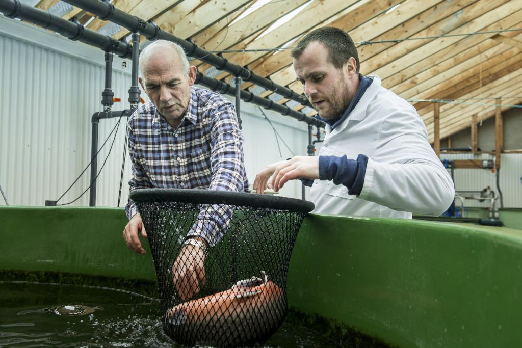 Polybait gründer Svein Kvalvik og forskningstekniker ved Nofima, Tor Evensen, på havbruksstasjonen i Tromsø